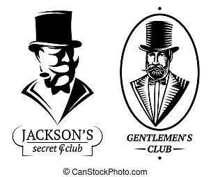 set vector logo templates for gentlemen's club - set of ...