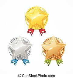 set., vector, medailles, sterretjes