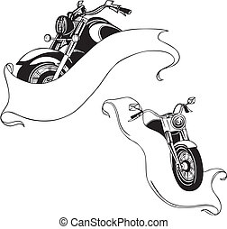 set., vector, motocicletas, ribbons.
