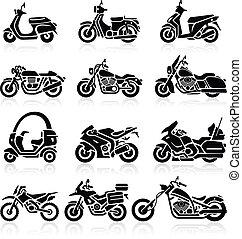 set., vector, motorfiets, iconen