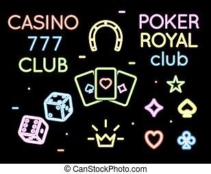 Set vector neon light logos of poker club and casino