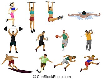 Set vector of people playing various sports on a white background