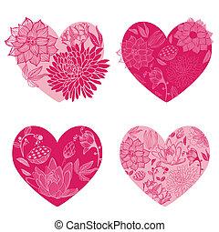set, -, vector, ontwerp, bloem, hartjes, plakboek