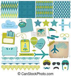 set, -, vector, ontwerp, plakboek, feestje, vliegtuig, communie
