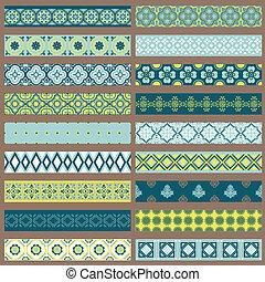 set, -, vector, ontwerp, plakboek, randjes, linten