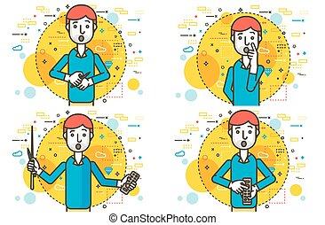 Set vector orator spokesman spokesperson speaker gestures control panel pointer businessman politician speech speaking stage audience business presentation line art style white background