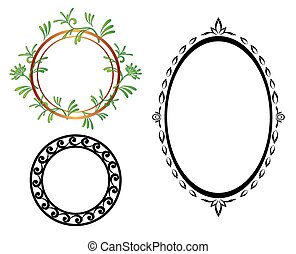 set - vector oval and round frames