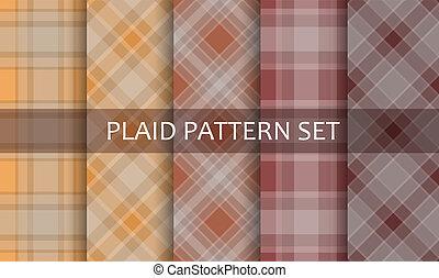 set., vector, patterns., tartán