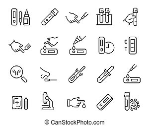 set., vector, prueba, stroke., editable, iconos, anticuerpo...