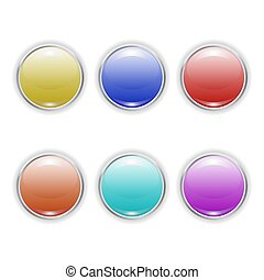 Set Vector realistic color plastic buttons with metal frame