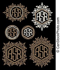 set vector retro patterns monograms with Floral elements