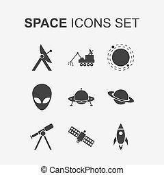set., vector, ruimte, iconen