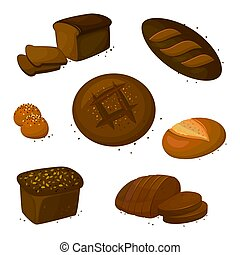 Set vector rye dark read icons. Vector illustration isolated on a white background. Bakery product in cartoon style.