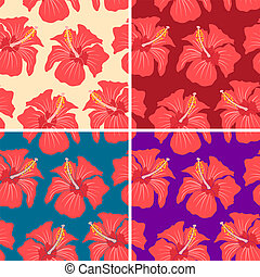 hibiscus - Set vector seamless patterns with hibiscus