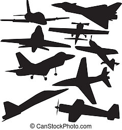 set vector silhouette of airplanes
