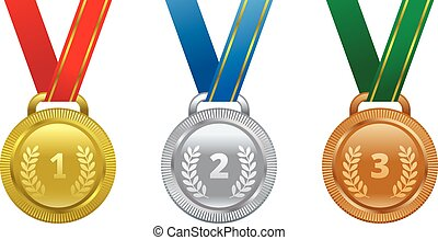 Set vector sports awards gold, silver and bronze medal.