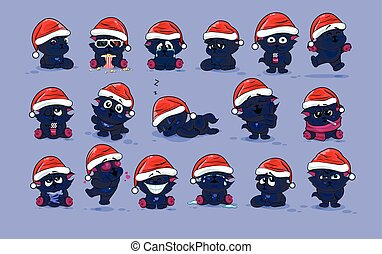 Set Vector Stock Illustrations isolated Emoji character cartoon black cat stickers emoticons with different emotions in the cap of Santa Claus for the greetings Merry Christmas and Happy New Year.