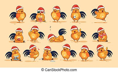 Illustrations isolated Emoji character cartoon Cock stickers emoticons with different emotions