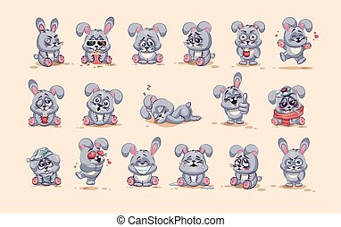 Set Vector Stock Illustrations isolated Emoji character cartoon Gray leveret stickers emoticons with different emotions for site, info graphic, video, animation, websites, e-mails, newsletters, reports, comics