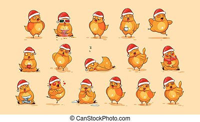 Illustrations isolated Emoji character cartoon Hen stickers emoticons with different emotions