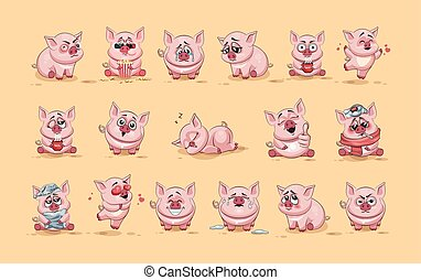 Set Vector Stock Illustrations isolated Emoji character cartoon Pig stickers emoticons with different emotions for site, infographics, video, animation, websites, e-mails, newsletters, reports, comics
