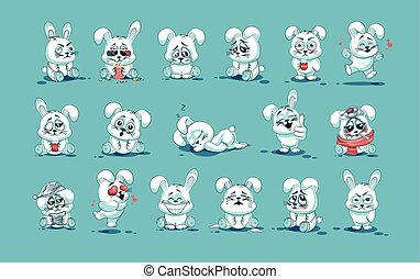 isolated Emoji character cartoon White leveret stickers...