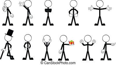 set, vector, stok, pictograms, 2, man