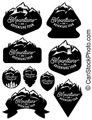 set vector stylish retro badge templates with mountains and forests
