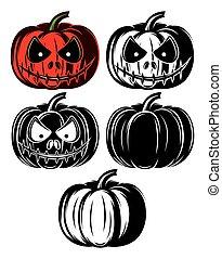 set vector templat with different Halloween pumpkins