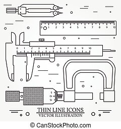 Set vector thin line icons caliper, ruler, pair of compass  and  micrometer. For web design and application interface, also useful for infographics. Vector dark grey. Vector illustration.