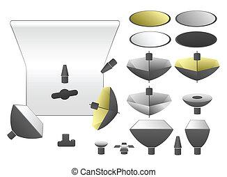 set, vector, uitrusting, studio