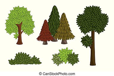 set vector various tree isolated on white background. drawing cartoon shape of many leaf, bush and forest.