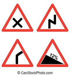 set, vector, verkeer, achtergrond, tekens & borden, witte