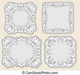 set vector vintage frames