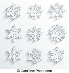 set., vector, vorm, pictogram, snowflakes