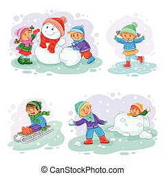 A set of vector icons of small children mold snowmen, playing snowballs, sledding and ice skating