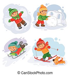 Vector winter set icon little children making snow fort, slides on a sled, going skiing