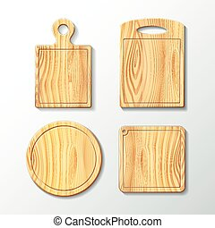 Set vector wooden cutting board