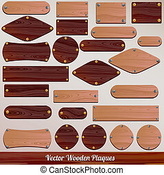 Set vector Wooden plaque