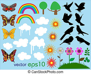 set, vector, zomer