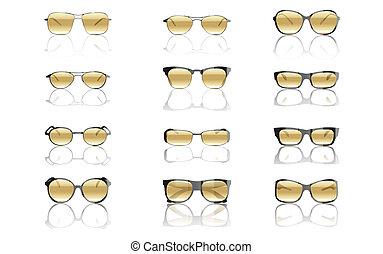 set, vector, zonnebrillen