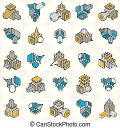 set., vectors, ingénierie, forme abstraite