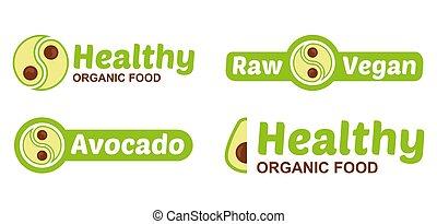 Set vegan logo with avocado