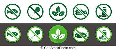 set, vegan, pictogram