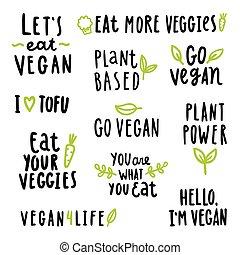 set, vegan, tekens & borden