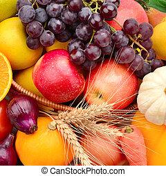 Set vegetables and fruits background.