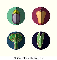 set vegetables healthy food