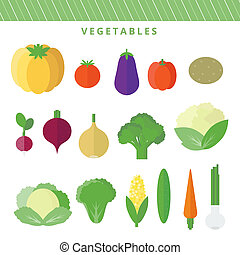set vegetables in flat