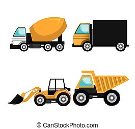 set vehicles construction machinery