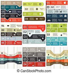 set., vektor, infographics, linien